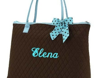 Personalized Tote Bag Brown Blue Polka Dots XLarge Dance Cheer Gym