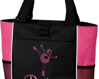 Girls Personalized Tote Bag Ice Figure Skating Monogrammed Dance Cheer