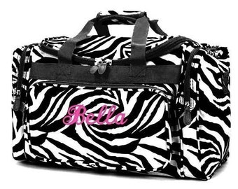 Personalized Duffle Bag Zebra Black White DANCE GYM Cheer  Luggage