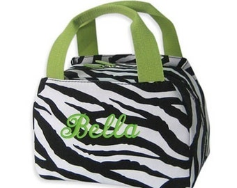Children Personalized Lunch Bag Zebra Lime Green Insulated Monogrammed Cosmetic Case