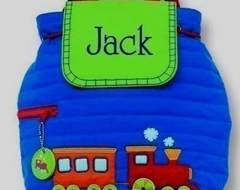 Boys Personalized Backpack Train Stephen Joseph  Quilted Toddler Preschool