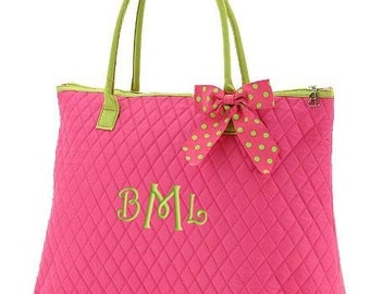 Personalized Tote Bag Pink Lime Polka Dots Dance Cheer XLarge