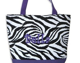 Personalized Tote Bag  Zebra Purple Monogrammed Wedding Dance
