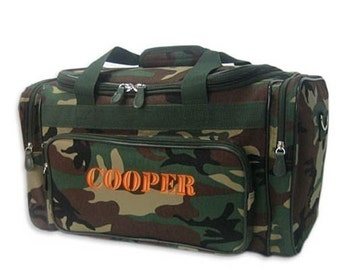 Personalized Duffle Bag Camo Camouflage Gym Hunting Fishing Luggage Monogrammed