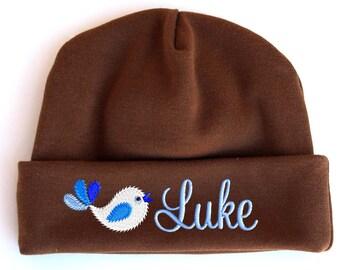 Personalized Beanie Hat Newborn Baby Boy Tweet Bird Embroidered Monogrammed Name