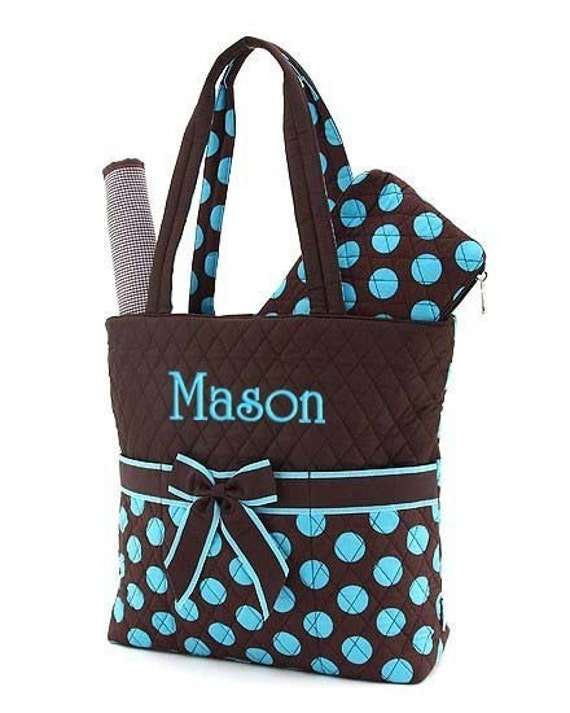 diaper bag personalized 3 pc quilted brown blue monogrammed. Black Bedroom Furniture Sets. Home Design Ideas