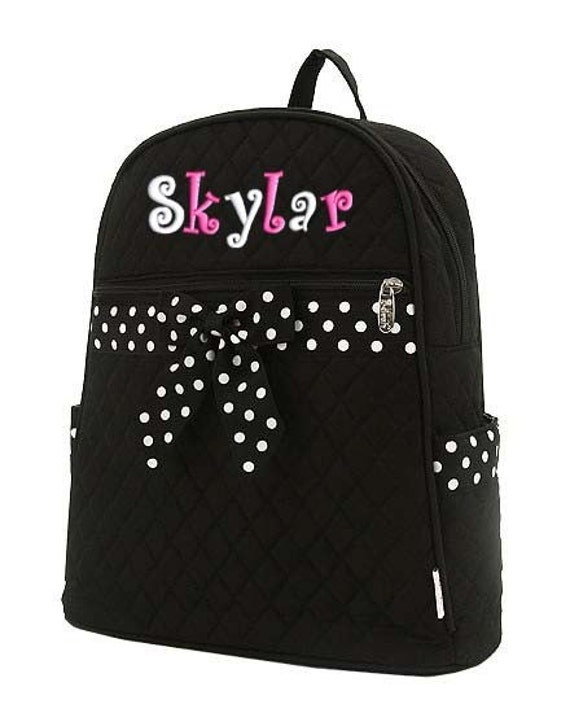 personalized backpack black white polka dots quilted