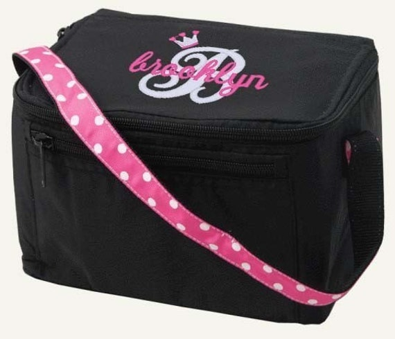 Personalized Lunch Bag Black Pink Polka Dots Name Monogrammed Box Cooler