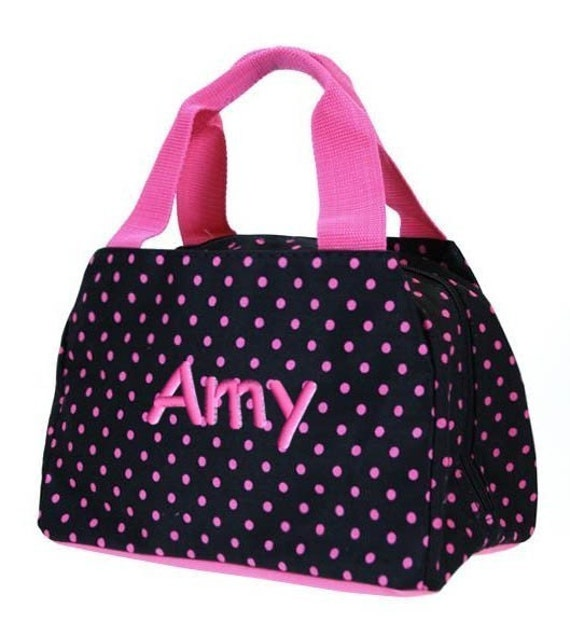 Lunch Bag Personalized Polka Dots Black Hot Pink By Parsik93