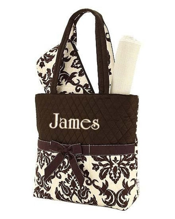 Diaper Bag Personalized Damask Brown Tan 3 pc Quilted Monogrammed