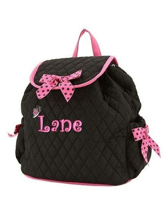 backpack personalized black hot pink dots boutique style