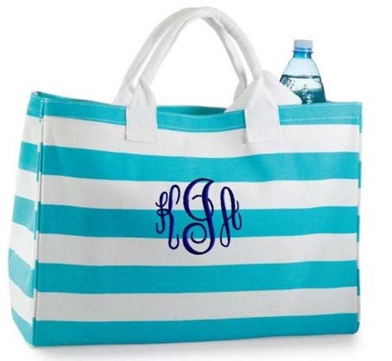 Personalized Tote Bag Blue Stripe Monogrammed Beach Dance
