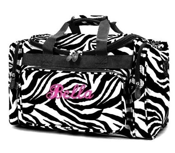 Personalized Duffle Bag Zebra Black White DANCE GYM Cheer  Luggage