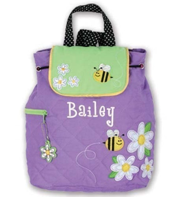 Children Backpack Personalized Daisy Bee Quilted Stephen Joseph