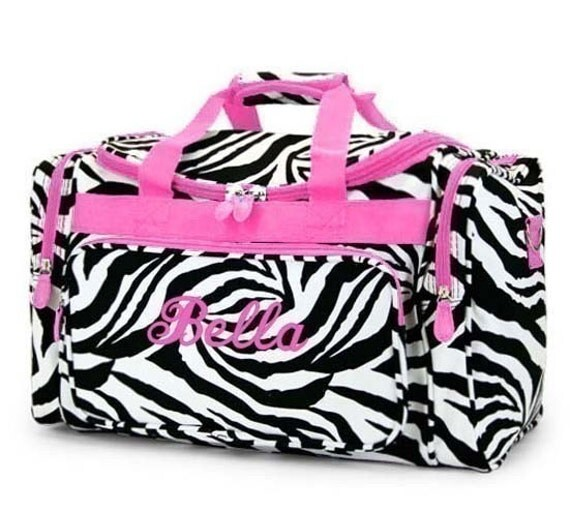 Personalized Duffle Bag Zebra Pink DANCE GYM Luggage Overnight