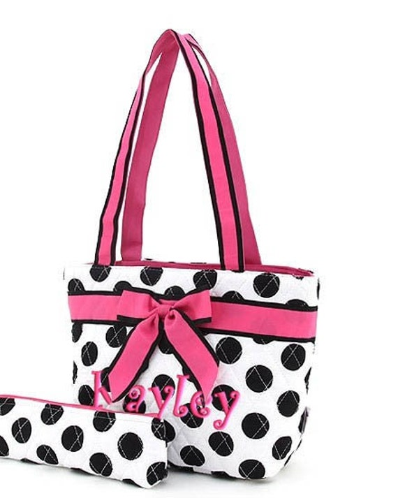 Girls Personalized Lunch Bag White Black Polka Dots Hot Pink Quilted Insulated Tote
