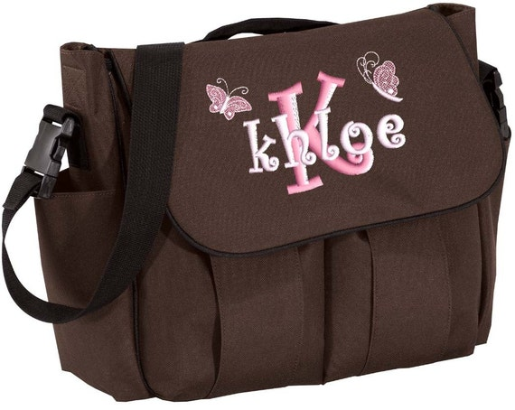 Diaper Bag Personalized Brown Messenger Embroidered