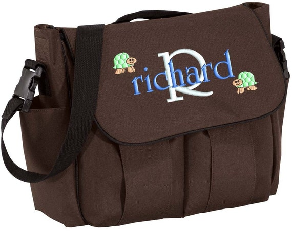 Diaper Bag Personalized Black Brown Messenger Embroidered