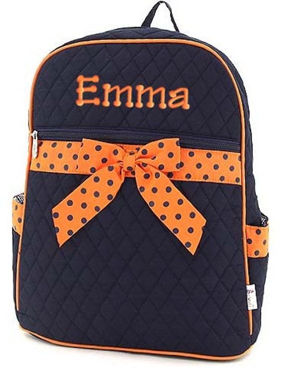 Children Personalized Backpack Navy Orange Polka Dots Quilted Monogrammed