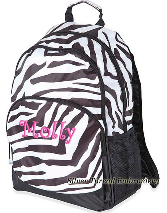 Personalized Backpack Zebra Monogrammed Large School Sahara Stripe