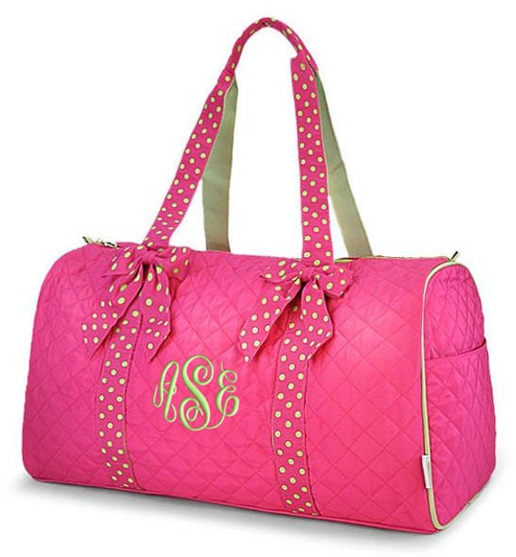 personalized duffle bag hot pink lime green polka dots dance