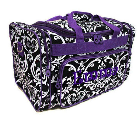 Personalized Duffle Bag Damask Black Purple Dance Sports Travel Gym