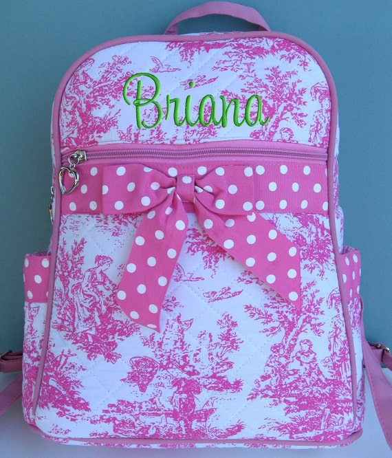 Children Personalized Backpack Pink Toile Polka Dots Quilted Toddler Preschool
