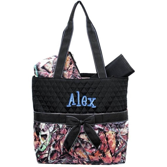 diaper bag personalized camouflage natural camo black quilted. Black Bedroom Furniture Sets. Home Design Ideas