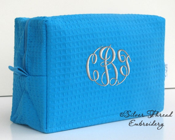 Personalized Waffle Cosmetic Case Bag BLUE Monogrammed Bridesmaid Gift