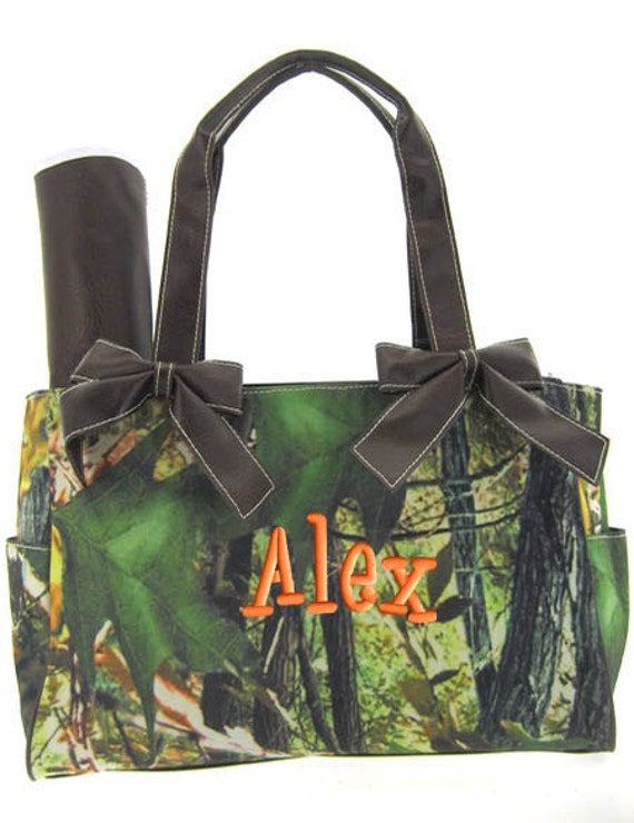 Personalized Diaper Bag Camouflage Mossy Oak Brown Trim Camo Army Print  Monogrammed