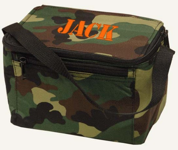 boys personalized lunch bag camo camouflage monogrammed box