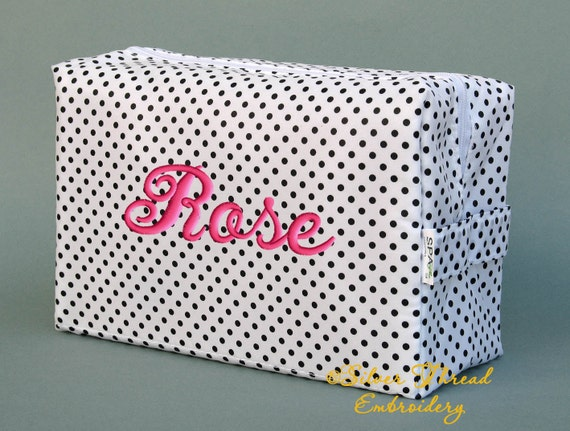 Personalized Cosmetic Bag White Black Polka Dots Monogrammed Bridesmaid Gift