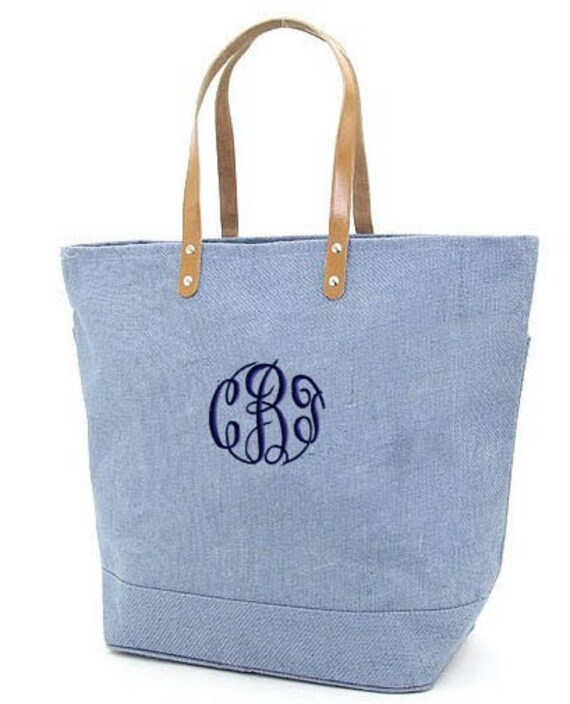 Personalized Tote Bag Jute Blue Burlap Large Monogrammed Wedding Bridesmaid