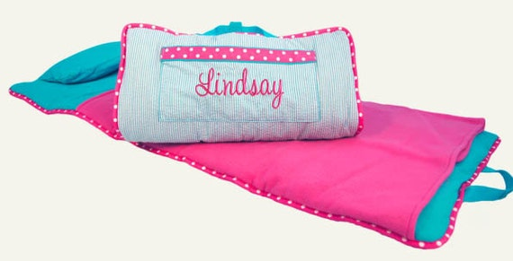 Toddler Nap Mat Personalized Aqua Hot Pink Daycare Preschool