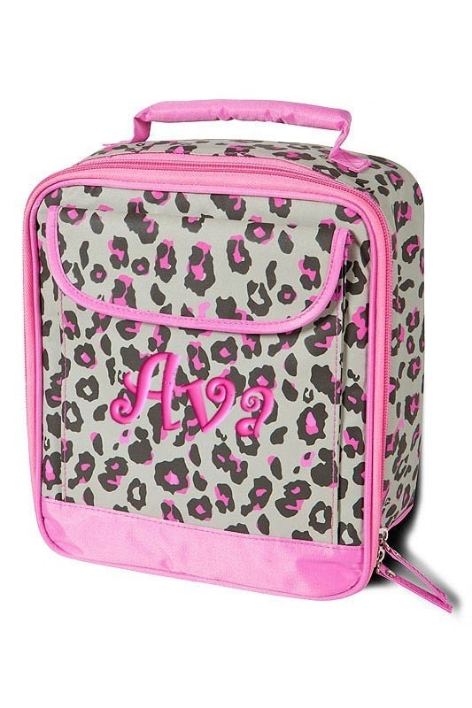 Personalized Lunch Bag Pink Leopard Cheetah Monogrammed