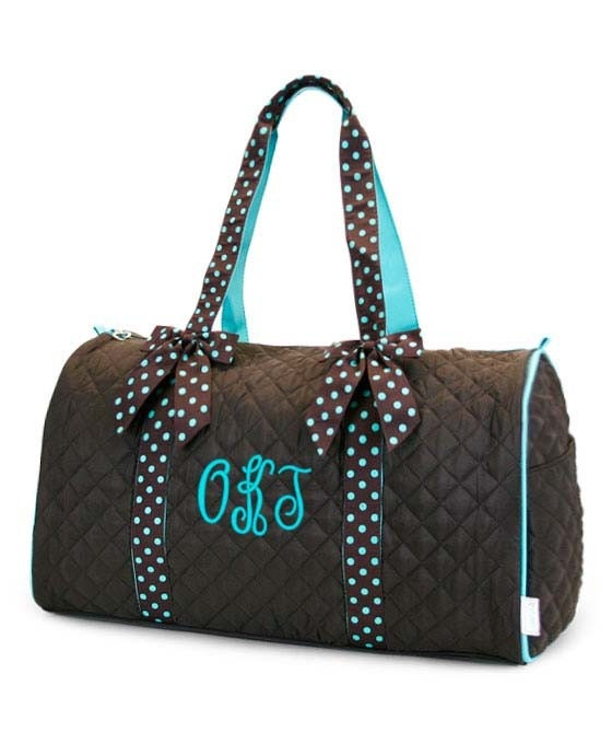 personalized duffle bag brown teal blue polka dots by parsik93