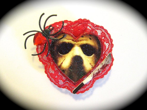 Jason Voorhees Mask Heart Shaped Hair Barrette