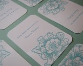 8 Personalized Bookplates - Peony Stamped and Embossed in Robin's Egg