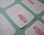 8 Personalized Bookplates - Robots Stamped and Embossed in Cranberry