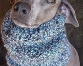 Hatz4brats' Denim Blue Handknit Dog Cowl. Snood. Ear Warmer-Medium