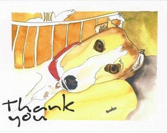 SueBero Dog Art Thank You Cards Set of 4 w Envelopes