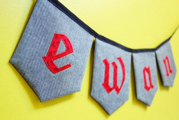 Fabric name banner, custom, 4 letters