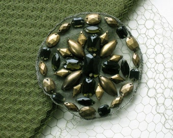 Beaded Applique In Brass And Olive