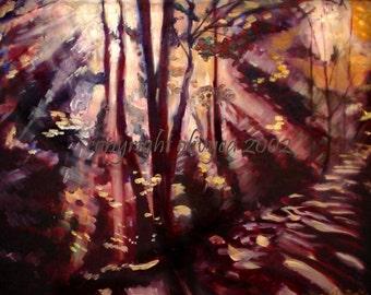 "Oil Painting, Landscape, Forest, Original, Sunlight through trees, Fine Art, 22 x 28""... 31 x 37"" Framed"