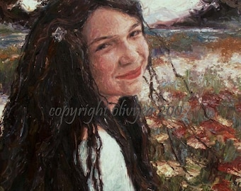 "Oil Painting, Portrait of a Girl, Field of flowers, Original, Impressionistic...18"" x 24"""