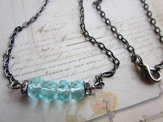 Aqua Quartz Rondelle Necklace, Gunmetal Chain,Sale