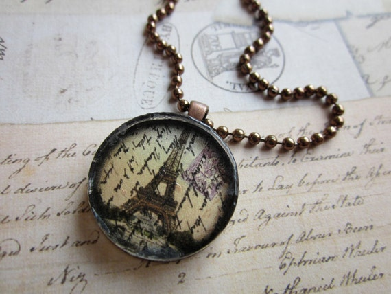 Eiffel Tower Pendant Necklace on Copper Ball Chain, Sale