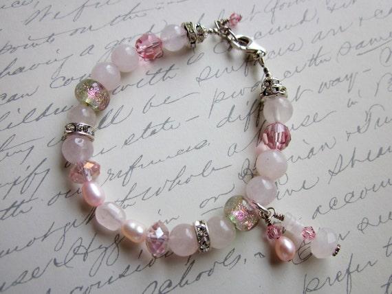 Pink Gemstone Beaded Bracelet with Dichroic & Crystal, Sale Jewelry