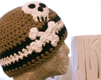 Stripes and Skull Skater Beanie