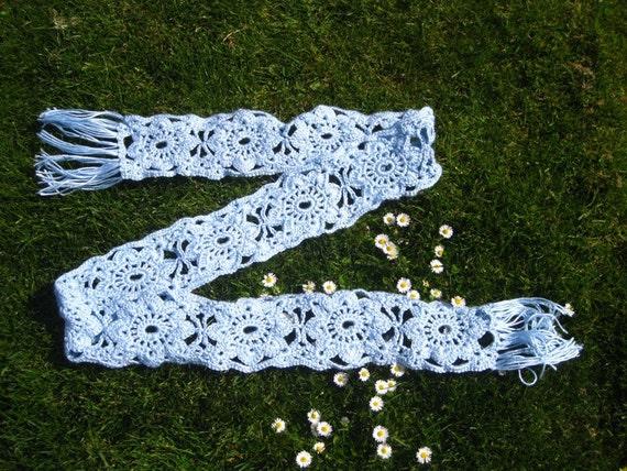 Bonnie Blue Daisy Scarf  Handmade Knit Accessory